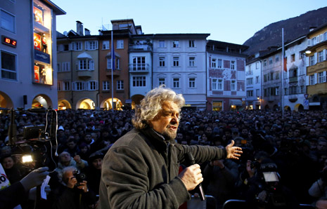 Comedian Turned Politician Beppe Grillo Addresses Supporters At Rally